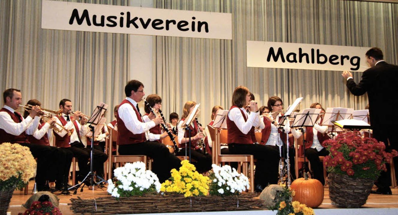 Der Musikverein Mahlberg mit Dirigent Rüdiger Müller beim Herbstabend.     Foto: Sandra Decoux-kone