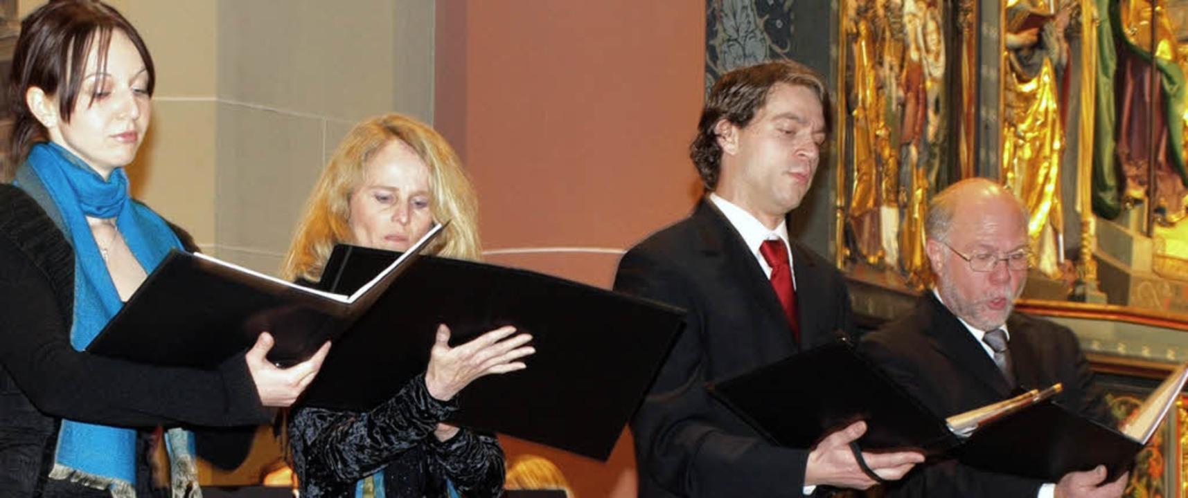 Die Solisten im Münster (von links): L...n, Matthias Ziegler und Wolfgang Adam     Foto: marion pfordt