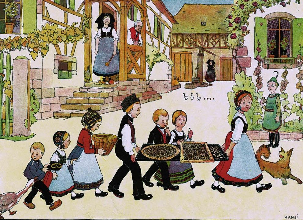 Dorfidylle im Elsass, skizziert von Je...s Waltz am Ende des 19. Jahrhunderts.   | Foto: Urachhaus