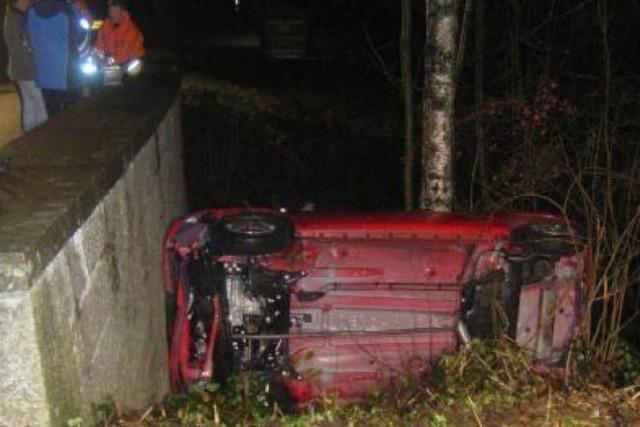Wagen stürzt von der Brücke
