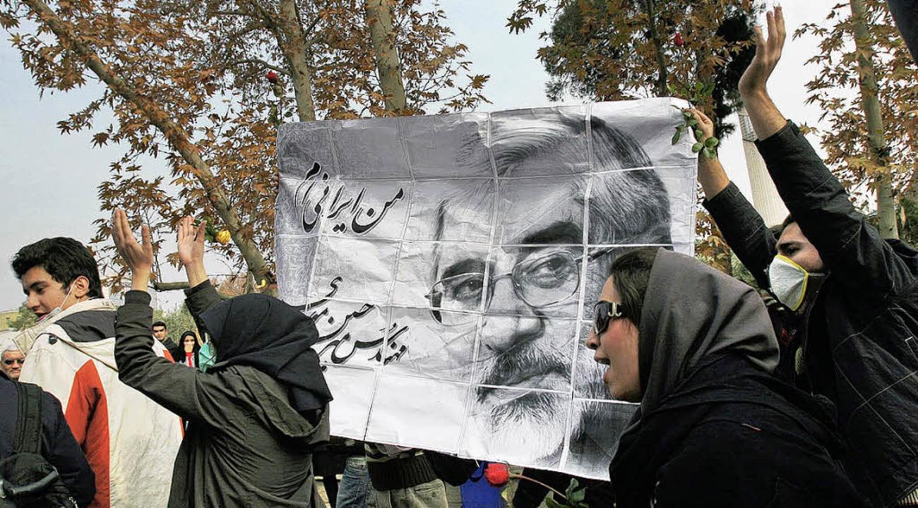Anhänger Mussawis an der Teheraner Universität    Foto: afp