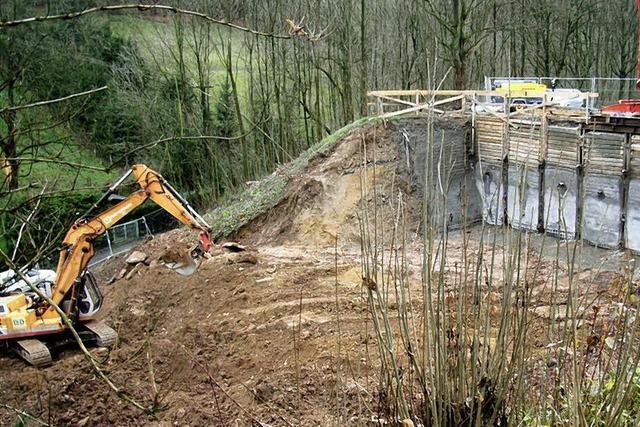 Überraschungen beim Bau des Regenrückhaltebeckens