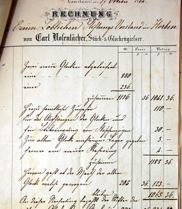 Die Rechnung für das Geläut von 1864.   | Foto: Tanja Bury