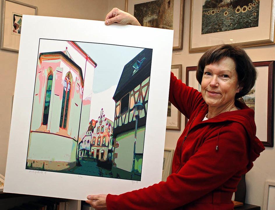 Gudrun Schleicher vom Rahmengeschäft U...annteste n Engpass  porträtiert hat.    | Foto: Gertrude Siefke