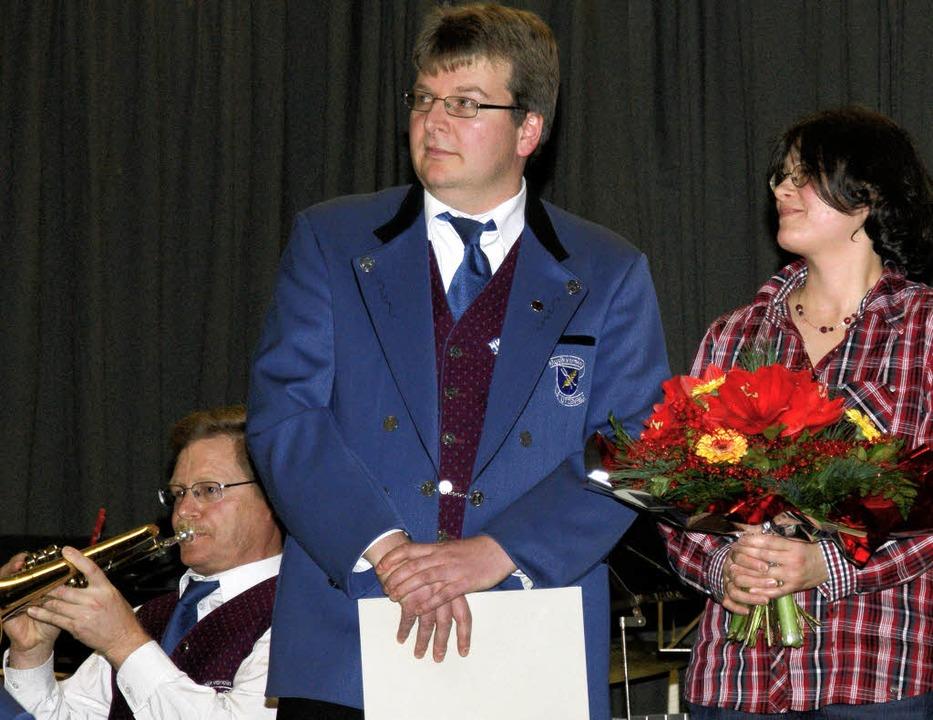 Posaunist Heiko Steinebrunner (rechts ...aft im Musikverein Utzenfeld geehrt.    | Foto: Privat