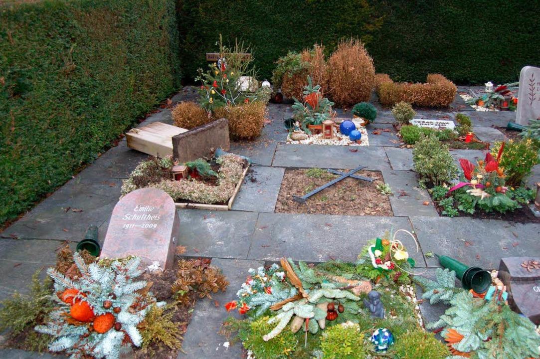 Ganze Grabsteine und Grabplatten wurde...eil des Grenzacher Friedhofs zerstört.  | Foto: Vollmar