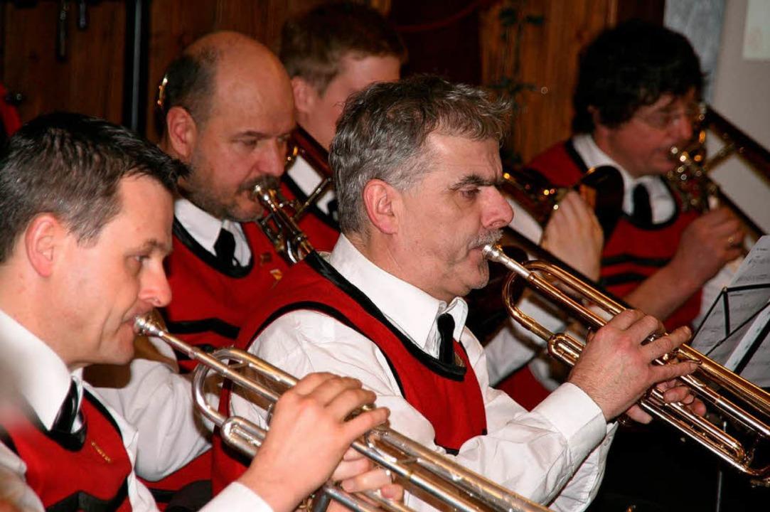 Die Bläsersektion des Musikvereins Rickenbach am Neujahrsempfang  | Foto: Peter Schütz