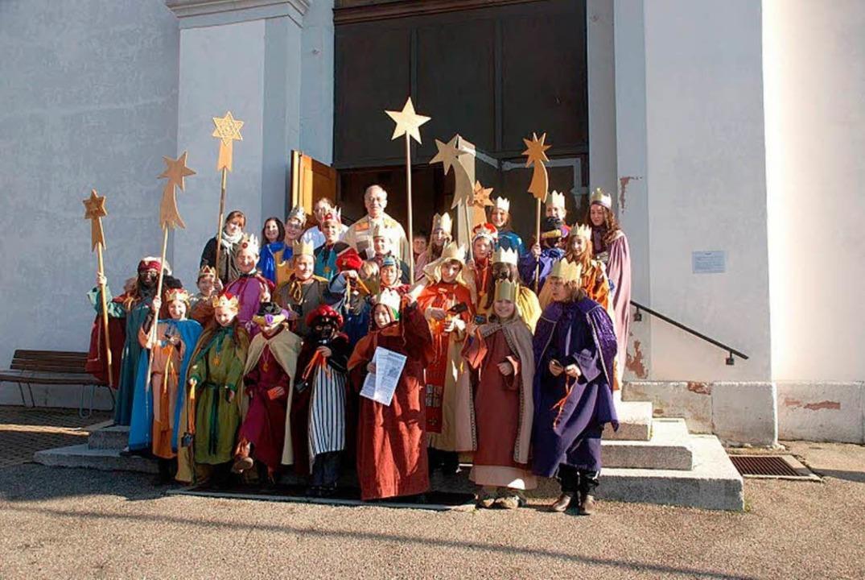 Die Gruppe der Sternsinger der katholi...t  Erich   Andris, war hochmotiviert.   | Foto: privat