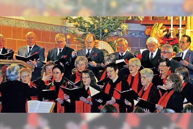 Dorfgemeinschaft singt an der Krippe