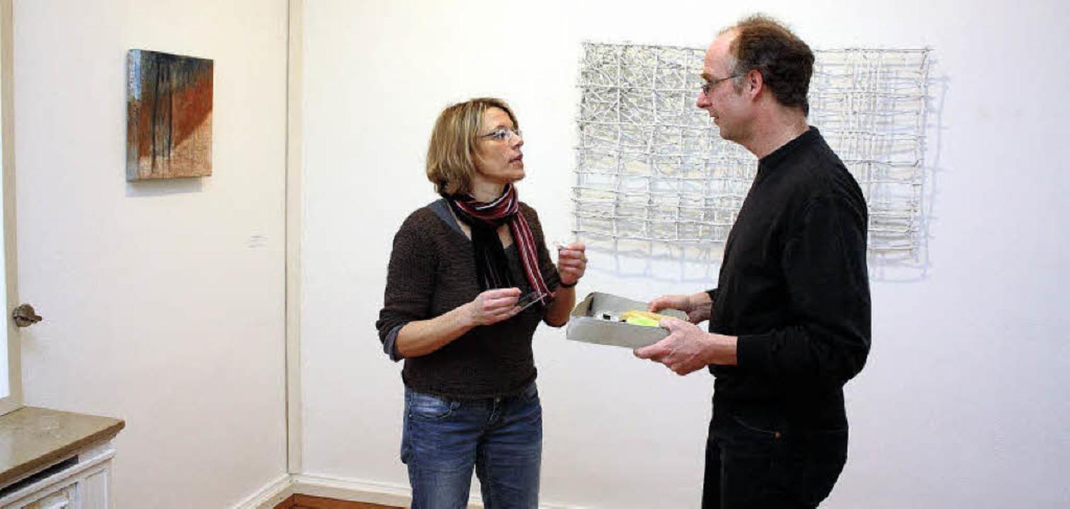 Nora Jacobi (Malerei) und Jürgen Burkh...ircher Georg-Scholz-Haus ausstellen.    | Foto: Frank Berno Timm