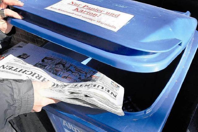 Blaue Tonne gräbt Vereinen das Altpapier ab
