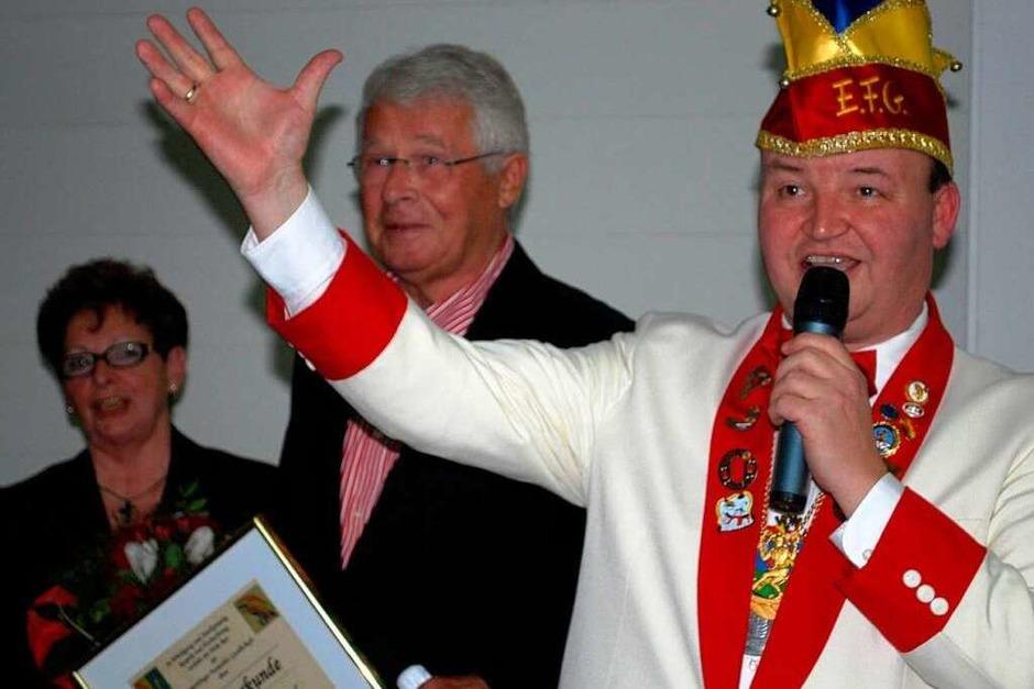 """Sie prägten die EFG: Präsident Gerhard Bürklin, Gernot """"Gené"""" Wibel und Helga Oswald; Bürklin ehrte die beiden Mitstreiter (v.r). (Foto: Sylvia-Karina Jahn)"""