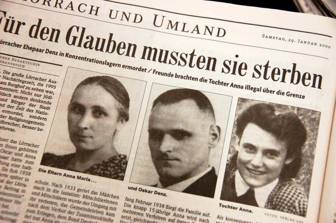 Der BZ-Artikel über die Familie Denz v... <BZ-FotoNurRepro>BZ</BZ-FotoNurRepro>  | Foto: Sabine Ehrentreich