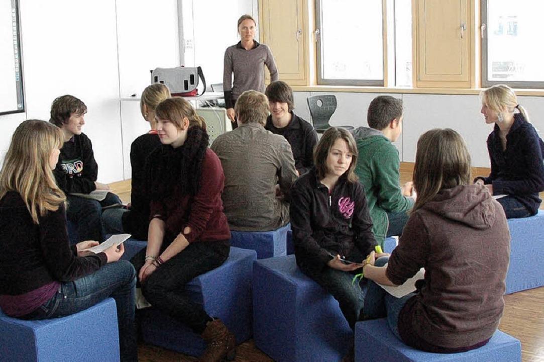 Die  Schulbank ist out: Gruppenunterri...auf sogenannten Kommunikationswürfeln   | Foto: s. mÜller