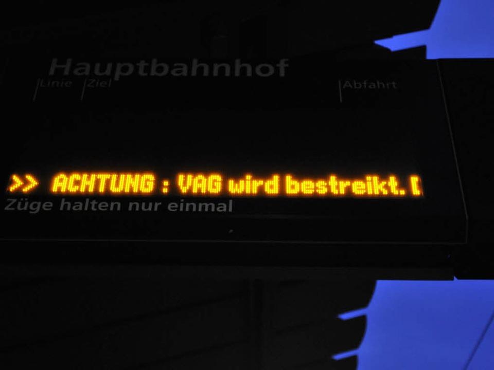 Am Donnerstag streiken die Mitarbeiter der VAG.  | Foto: Ingo Schneider