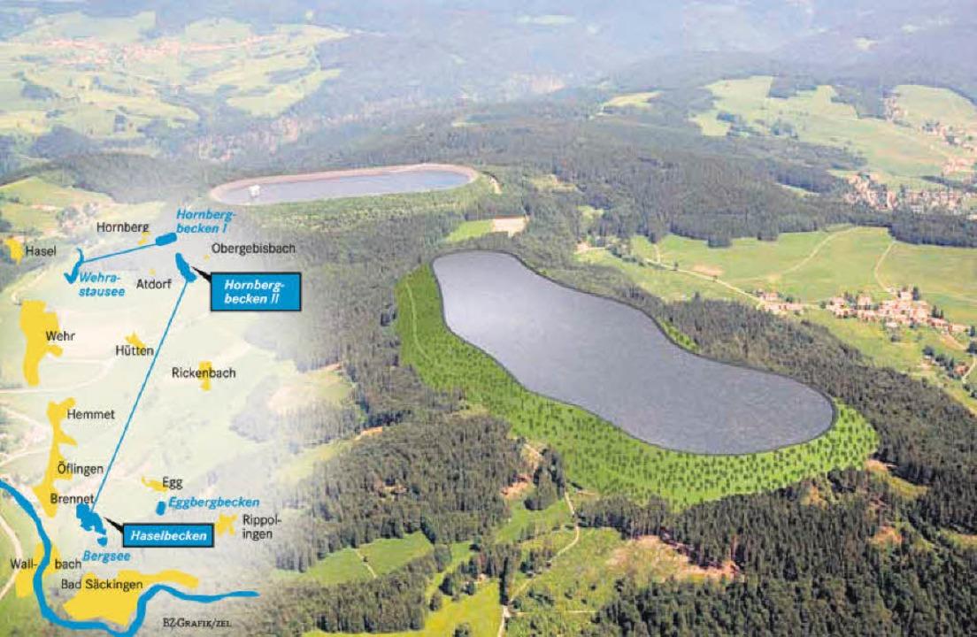 Künstlicher See auf der Bergkuppe: Das geplante neue Hornbergbecken     | Foto: Schluchseewerke/BZ-Grafik