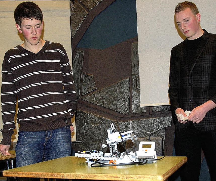 Florian (links) und Julian ließen bei ...er kleine Bälle nach Farben sortieren.  | Foto: annemarie zwick