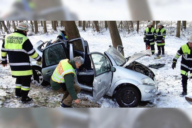 Auto schleudert und prallt gegen Baum