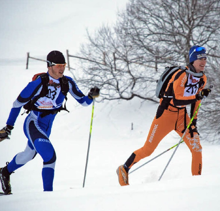 Marius Korthauer (2. über 60 km) und Benno Kuhbandner (1. über 60 km) am Neueck  | Foto: Ruoff
