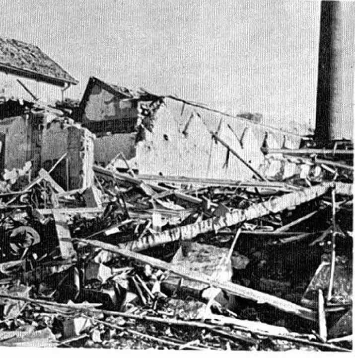 Die zerstörte Rüstungsfabrik Teves in Lörrach.   | Foto: Ortschronik