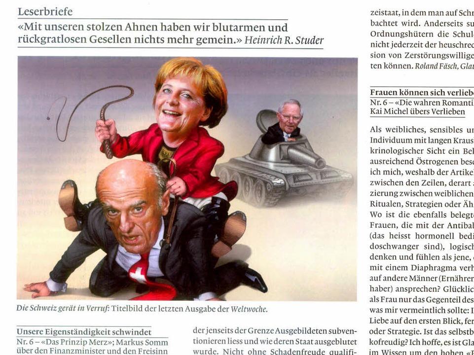Ein Titelblatt  der &#8222;Weltwoche&#... <BZ-FotoNurRepro>BZ</BZ-FotoNurRepro>  | Foto: -