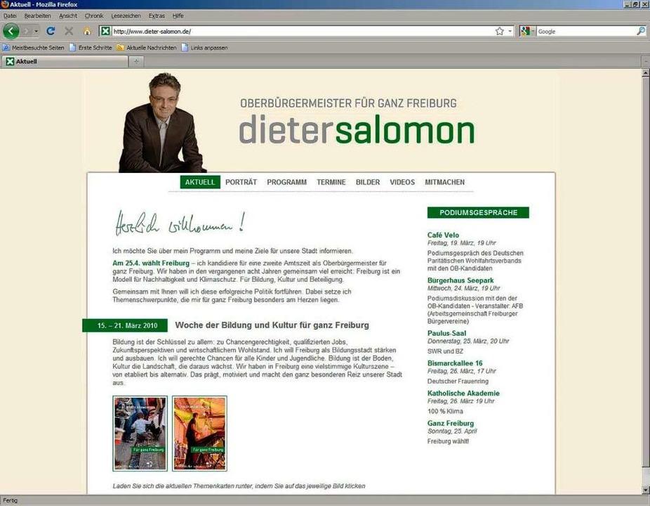 Die Seite von Amtsinhaber Dieter Salomon (Grüne)  | Foto: Screenshot: BZ