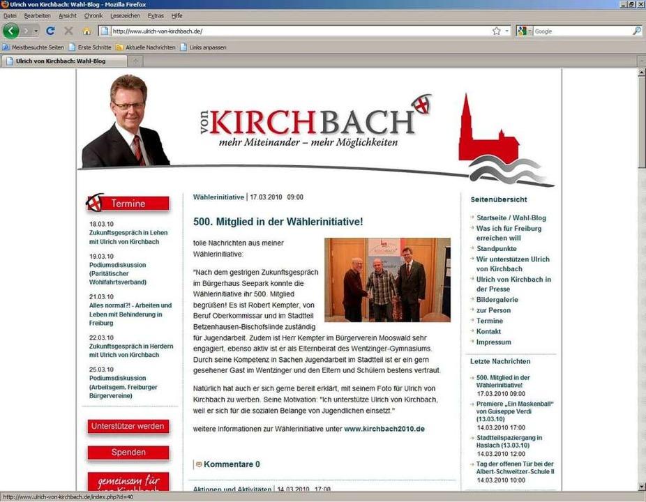 Die Webseite von Ulrich von Kirchbach.  | Foto: Screenshot: BZ