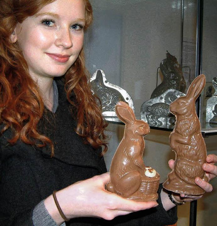 Süße und detailgenaue Osterhasen: Das ...st des Schokoladen- und Zuckergusses.   | Foto: Frey