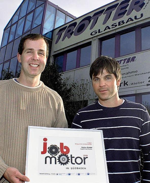 Freude über die Auszeichnung bei Marco (links)  und Patric Trotter  | Foto: Stefan Merkle