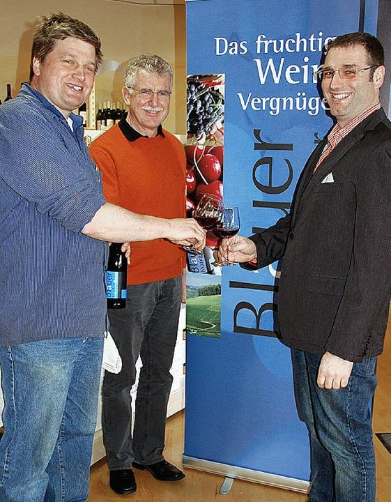 """Sie machen gerne """"blau"""": M...erthold Willi, Thomas Benz (von links)    Foto: Umiger"""