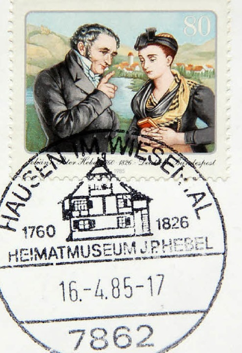 Berühmtes Bild als Postwertzeichen: Ge...ie Hebelbriefmarke als Ersttagsbrief.   | Foto: Wolfgang Roth