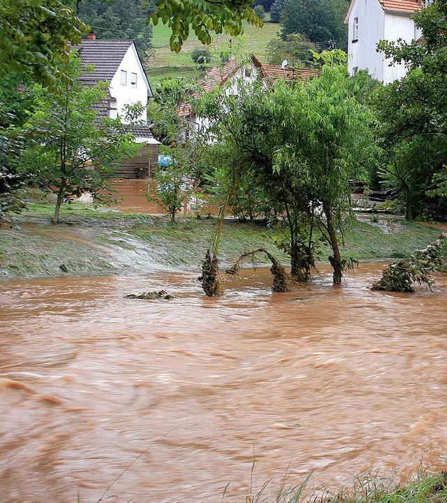 Über die Ufer trat die Schutter am 1. September 2008 in Steinbach.    Foto: Theo Weber