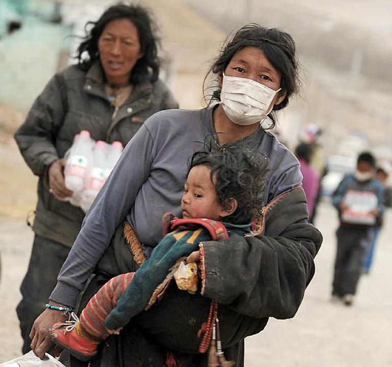 Sie wissen nicht wohin: Obdachlose in der chinesischen Erdbebenregion.     Foto: AFP