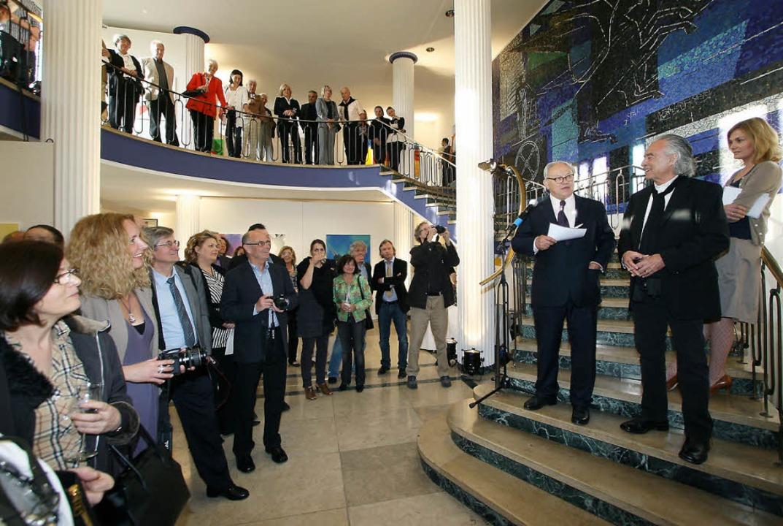 Verleger Hubert Burda bei seiner Einfü...tadt (Dritter und Zweiter von rechts).  | Foto: Petra Jarosch