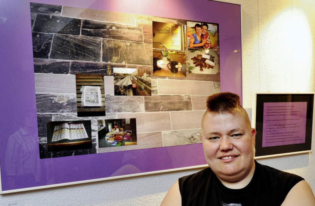 Die Freiburgerin Rosi vor ihrem Ausstellungsbild.   | Foto: ingo Schneider