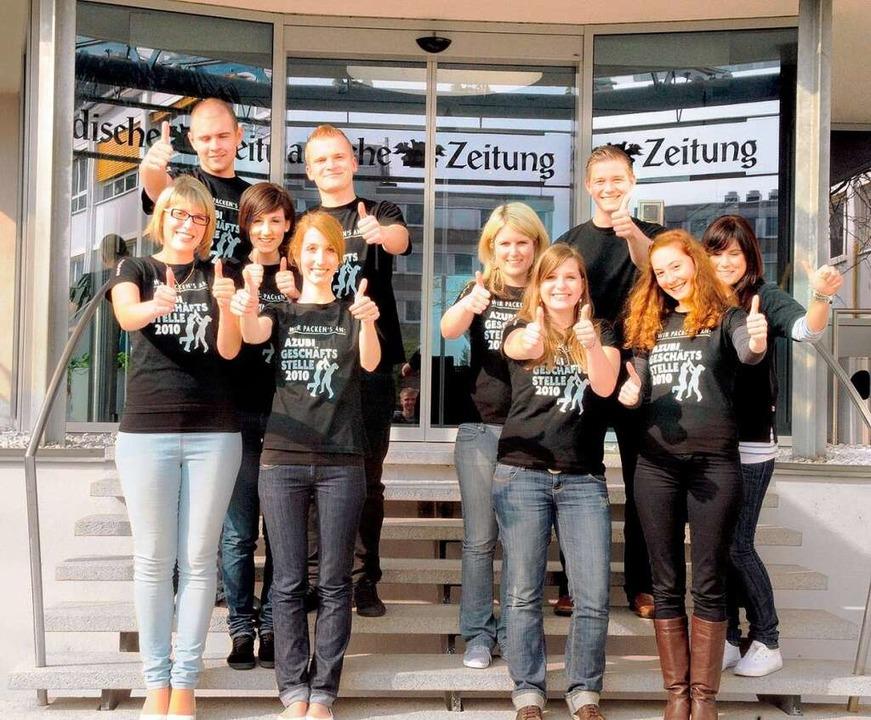 """Die Auszubildenden der Badischen Zeitu...uen sich auf """"ihre"""" Woche.    Foto: BZ"""