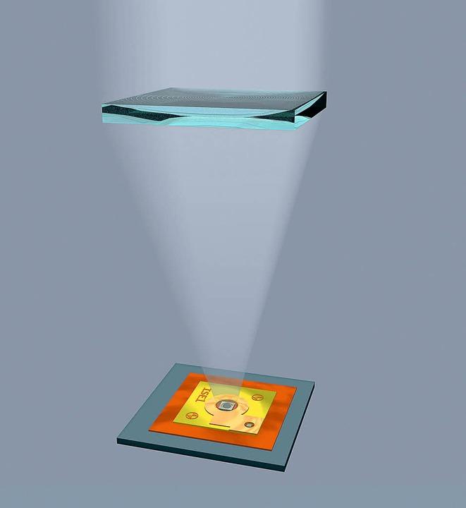 grafische Darstellung der Lichtbündelung (Rekordsolarzelle von ISE).    Foto: ISE FREIBURG