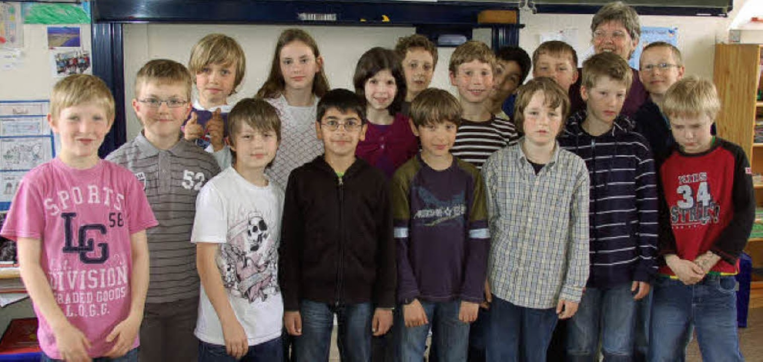 Die Klasse 4a der Grundschule Höllstei...mit dem Preisgeld unternehmen wollen.     Foto: Silke Kohlmann