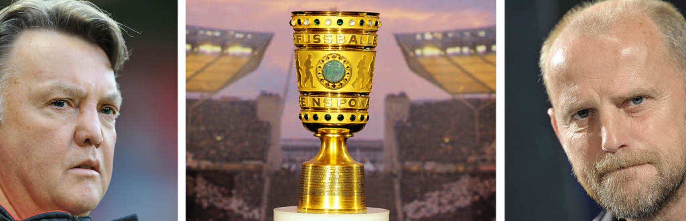 Einer wird gewinnen: Bayern-Coach Loui...ute Abend den Pokal in Händen halten.   | Foto: DPA