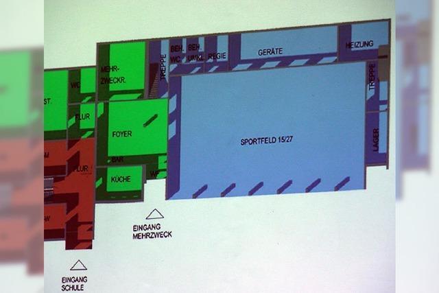 Neuer Entwurf: Sporthalle mit Foyer und Küche