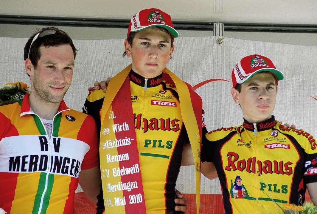 Der Merdinger Felix Döring (links) wur...n (Dritter, beide vom Team Rothaus).    | Foto: Sebastian Ehret