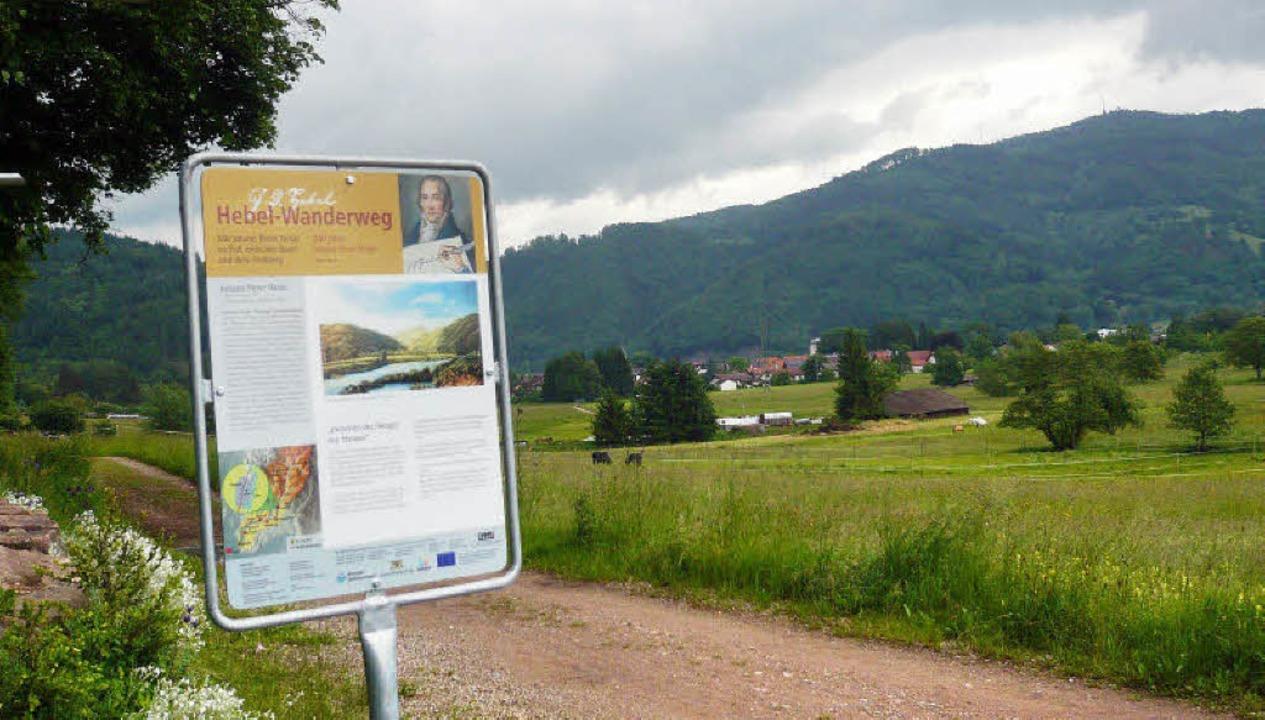 Eine Station auf dem Weg mit Hebel: Hinweisschild mit Blick auf die Hohe Möhr.   | Foto: Klaus Brust