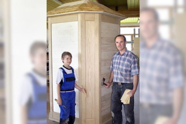 Fünf Holzarten in einer Säule