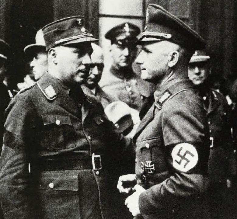 Der nationalsozialistische OB Kerber (rechts) mit Staatskommissar Wagner  | Foto: Stadtarchiv