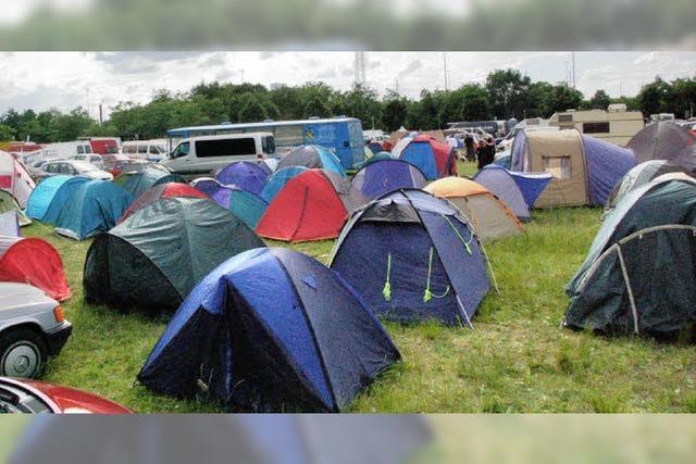 Ein Zeltplatz am Stadtrand