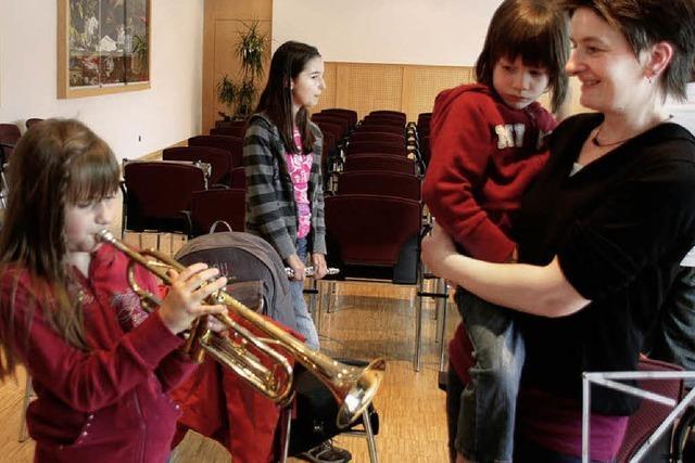 Kleine Musiker auf Probe