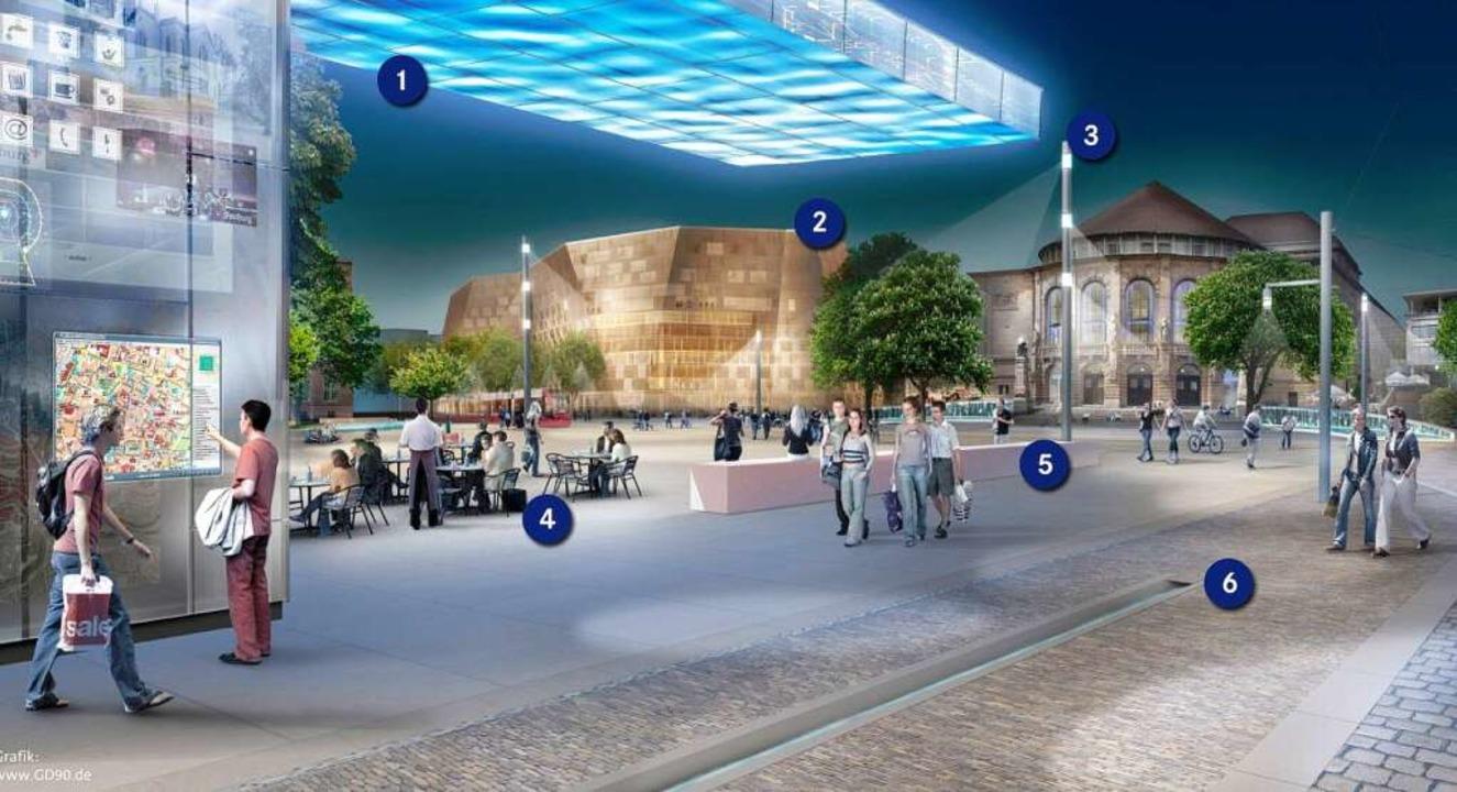 Künftig abends beim Theater: Platzhaus...zbank (5), Bächle und Rheinkiesel (6).  | Foto: visualisierungen: stadt Freiburg