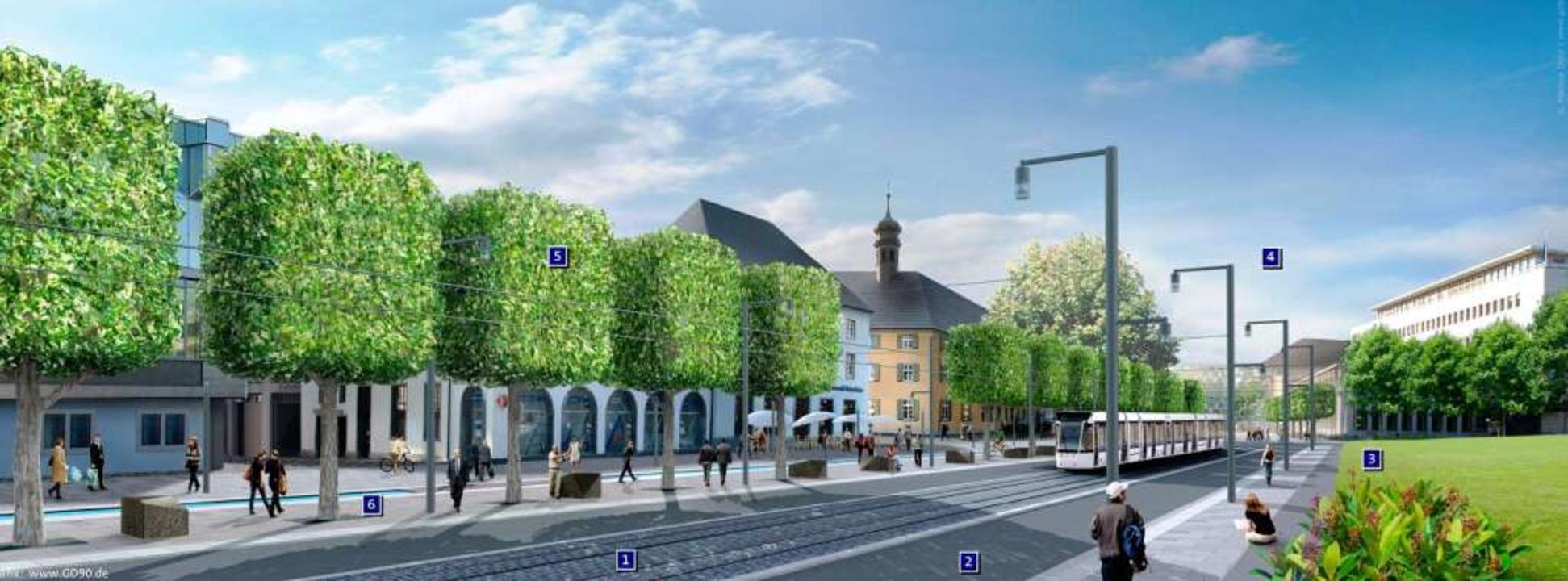 Der Rotteckring als Boulevard mit Stad...en Bäumen (5) und natürlich Bächle (6)  | Foto: ---