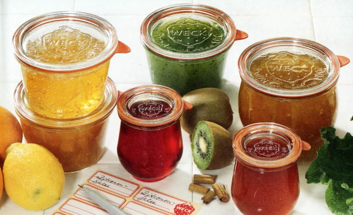 Da weiß man, was drin ist: selbstgemachte Gelees und Konfitüren im Einmachglas   | Foto: Weck (5)/Frick