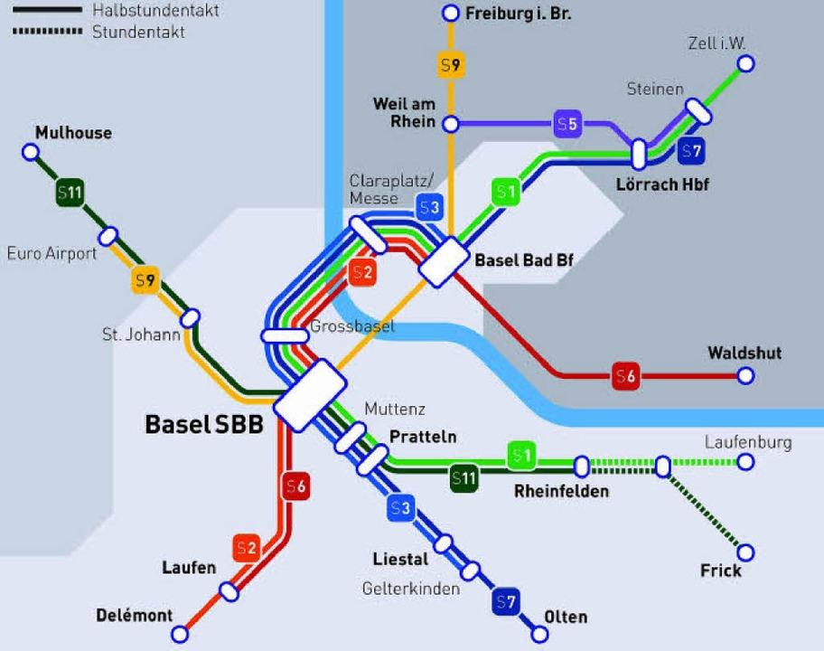 Basler Entwurf zum S-Bahn-Netz mit Her... <BZ-FotoNurRepro>BZ</BZ-FotoNurRepro>  | Foto: Kanton Basel Stadt